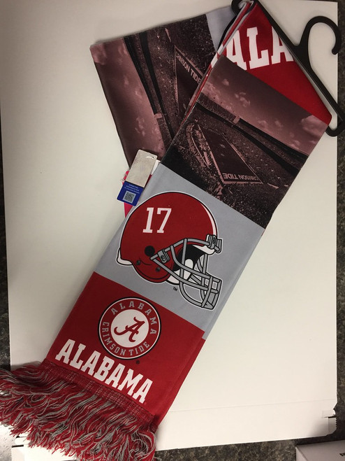 Officially Licensed NCAA Bar Design Printed Scarf Alabama Crimson Tide