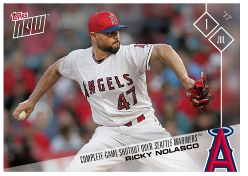 2017 Topps Now #315 COMPLETE GAME SHUTOUT RICKY NOLASCO ANGELS