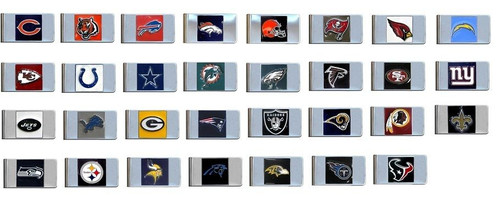 Official Licensed NFL Steel Money Clip Hand Painted 3D Emblem Choose Your Team
