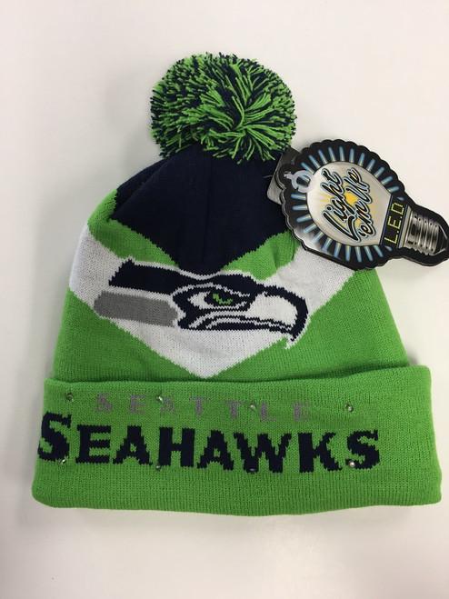 Seattle Seahawks Big Logo Colorblock Light Up Beanie