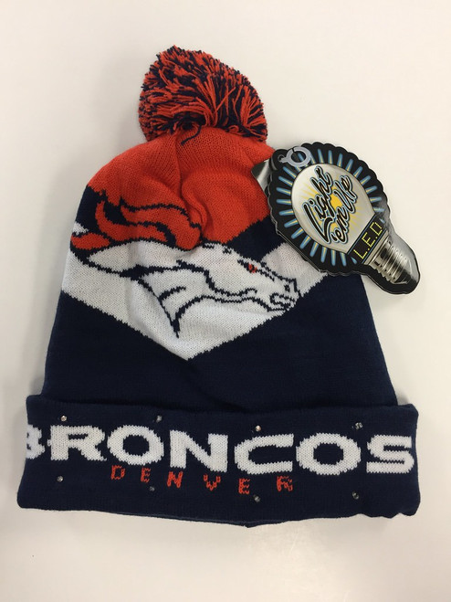 Denver Broncos Big Logo Colorblock Light Up Beanie