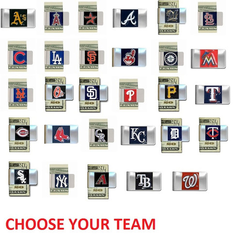 Official Licensed MLB Steel Money Clip Hand Painted 3D Emblem Choose Your Team