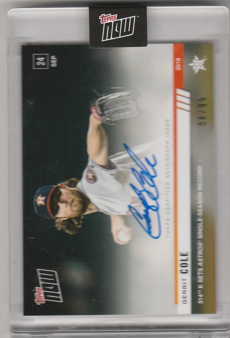 2019 Topps Now Auto 891A Gerrit Cole 314K Sets Houston Astros Record 8/99
