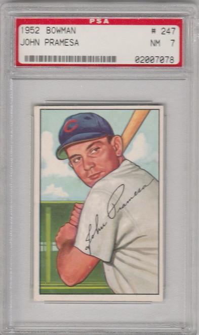 1952 Bowman 247 John Pramesa Chicago Cubs PSA 7 7078