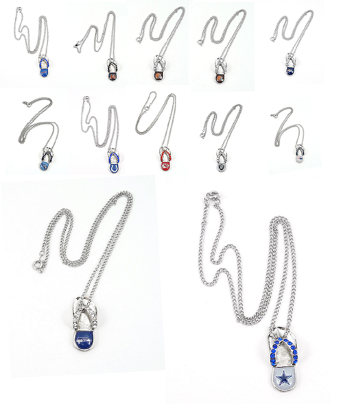NFL Football Team Logo Womens Ladies Crystal Flip Flop Necklace Pick Your Team