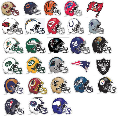 """NFL CHOOSE YOUR TEAM HELMET ULTRA DECAL 5""""X6"""" CLEAR WINDOW FILM STATIC CLING"""