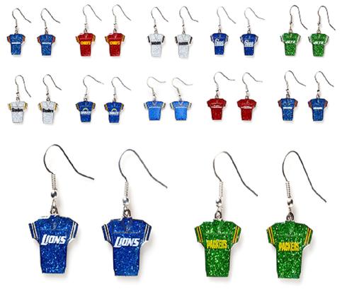 NFL Football Team Logo Womens Ladies Glitter Jersey Earrings Pick Your Team