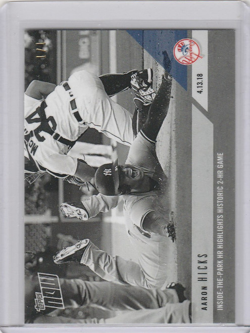 2018 Topps Now Black & White Aaron  Hicks 1/1 #74bw