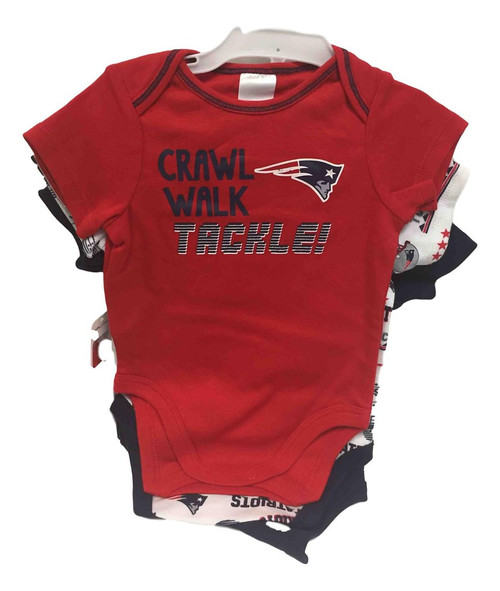NFL New England Patriots 3 Pack Bodysuit - Choose Your Size
