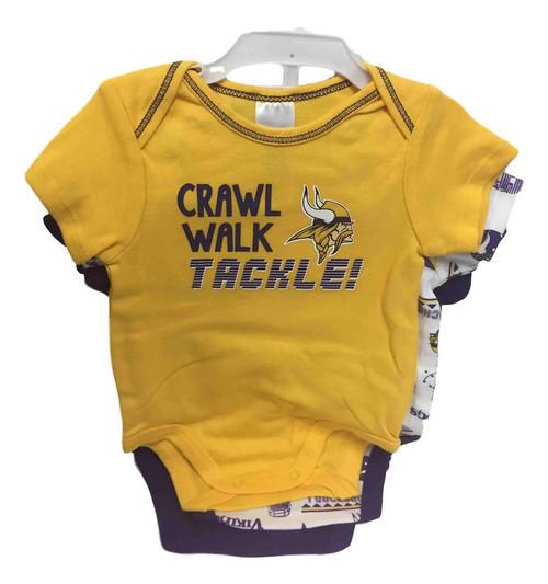 NFL Minnesota Vikings 3 Pack Bodysuit - Choose Your Size