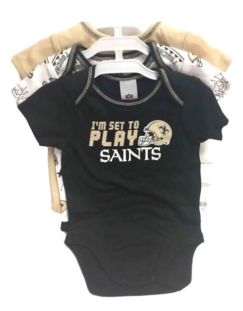 NFL New Orleans Saints 3 Pack Bodysuit - Choose Your Size