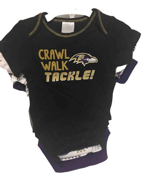 NFL Baltimore Ravens 3 Pack Bodysuit - Choose Your Size