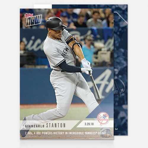 2018 TOPPS NOW #3 2 HRS, 4 RBI POWERS VICTORY YANKEES DEBUT - GIANCARLO STANTON