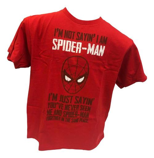 Marvel Im Not Sayin I am Spiderman T-Shirt Black (Large)