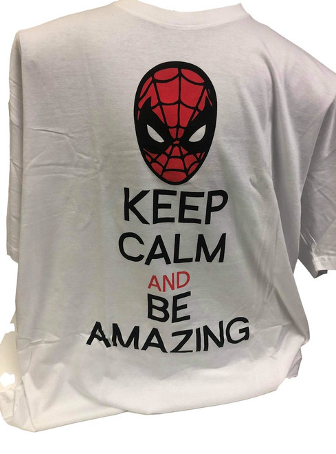 Marvel Spiderman Keep Me Calm and Amazing T-Shirt White  (XX-Large)