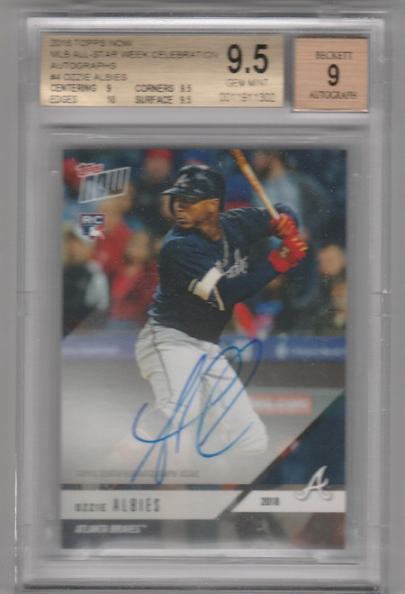 2018 Topps Now MLB All Star Weekend Ozzie Albies Auto RC Beckett 9.5
