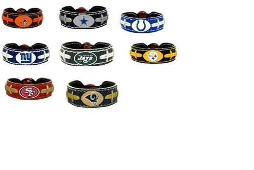 Official NFL Leather Football Bracelet Team Color Choose Your Team