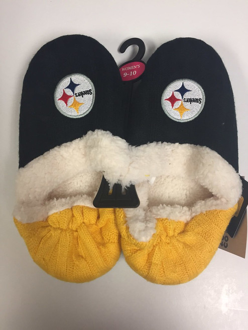 Pittsburgh Steelers Womens Team Color Knit  Moccasin Slippers