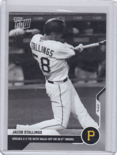 2020 Topps Now Platinum B&W #300BW-A Jacob Stallings Pirates 1/1