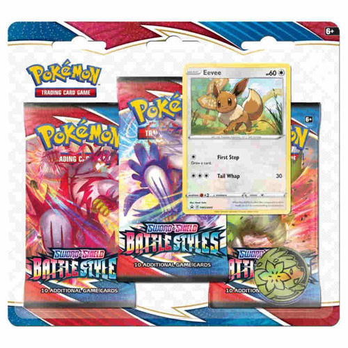 Pokemon Sword and Shield Battle Styles 3-Booster Blister Pack, Eevee
