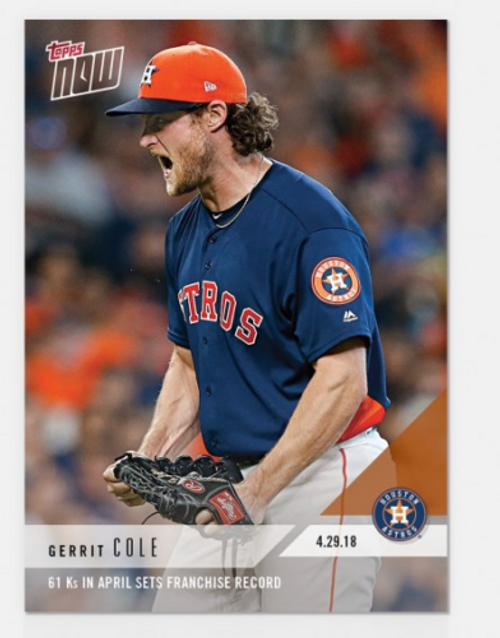 2018 TOPPS NOW #142 61 KS IN APRIL SETS FRANCHISE RECORD - GERRIT COLE