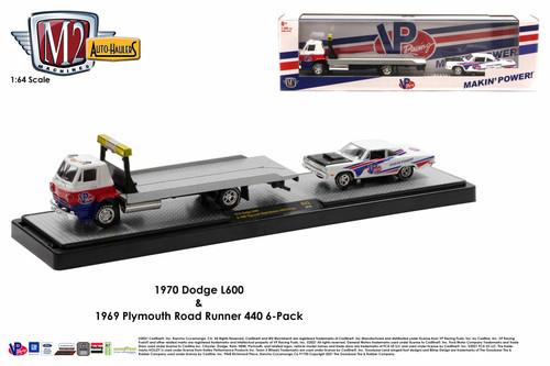 M2 Machines Auto Hauler 43 1970 Dodge L600 & 1969 Plymouth Road Runner VP Racing