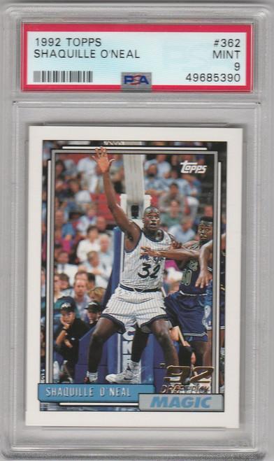 1992 Topps Basketball #362 Shaquille O'Neal Orlando Magic PSA 9