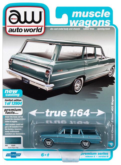 Auto World 64302 1:64 Muscle Wagon 1963 Chevy II Nova 400 Wagon Series B Aqua