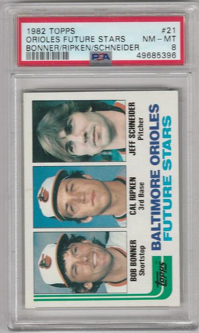 1982 Topps #21 Cal Ripken Baltimore Orioles PSA 8 - ROOKIE