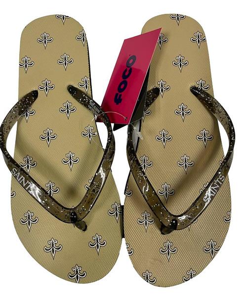 New Orleans Saints Women's Glitter Thong Flip Flop Sandals