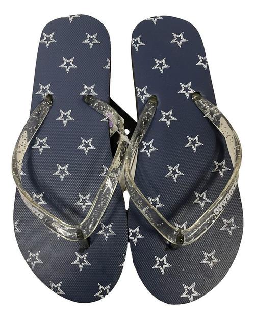Dallas Cowboys Women's Glitter Thong Flip Flop Sandals