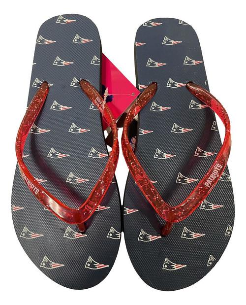 New England Patriots Women's Glitter Thong Flip Flop Sandals