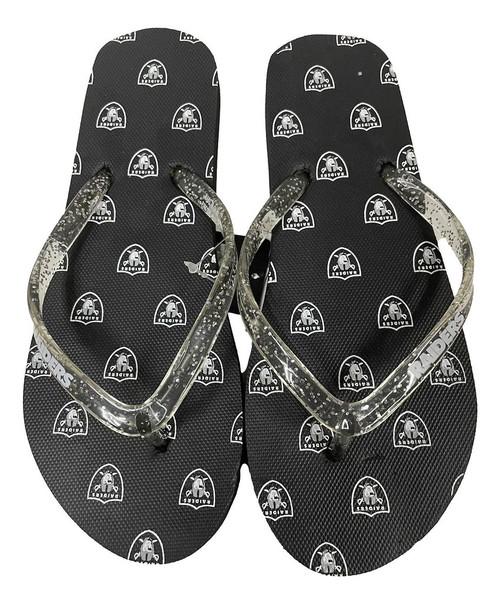 Las Vegas Raiders Women's Glitter Thong Flip Flop Sandals