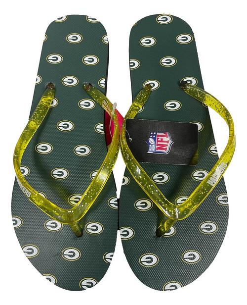 Green Bay Packers Women's Glitter Thong Flip Flop Sandals