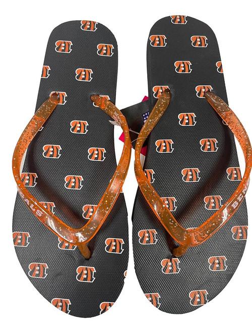 Cincinnati Bengals Women's Glitter Thong Flip Flop Sandals