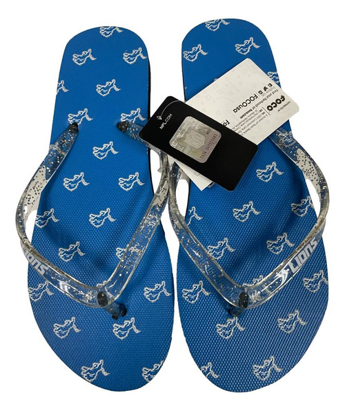 Detroit Lions Women's Glitter Thong Flip Flop Sandals