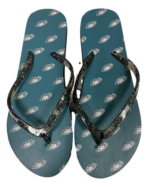 Philadelphia Eagles Women's Glitter Thong Flip Flop Sandals