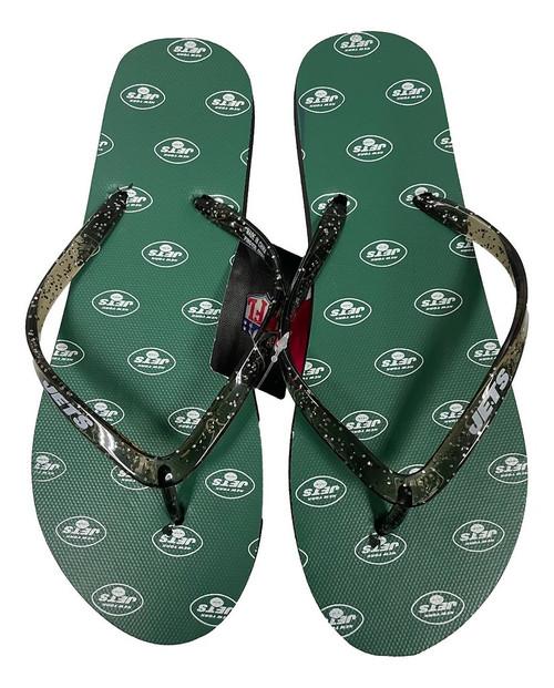 New York Jets Women's Glitter Thong Flip Flop Sandals