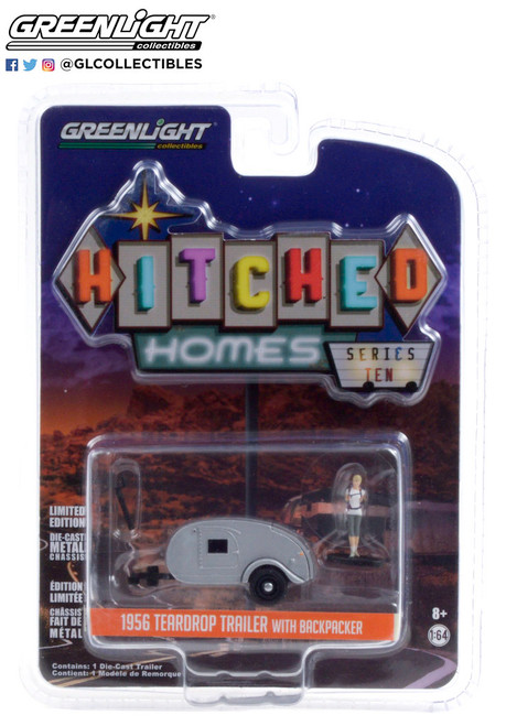 Greenlight 1:64 Hitched Homes SR 10 1956 Teardrop Trailer with Backpacker