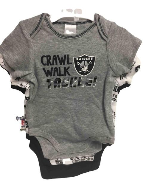 NFL Las Vegas Raiders 3 Pack Bodysuit - Choose Your Size
