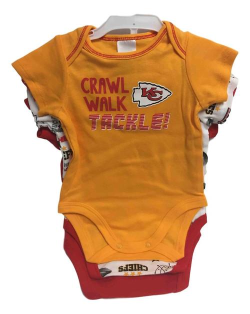 NFL Kansas City Chiefs 3 Pack Bodysuit - Choose Your Size