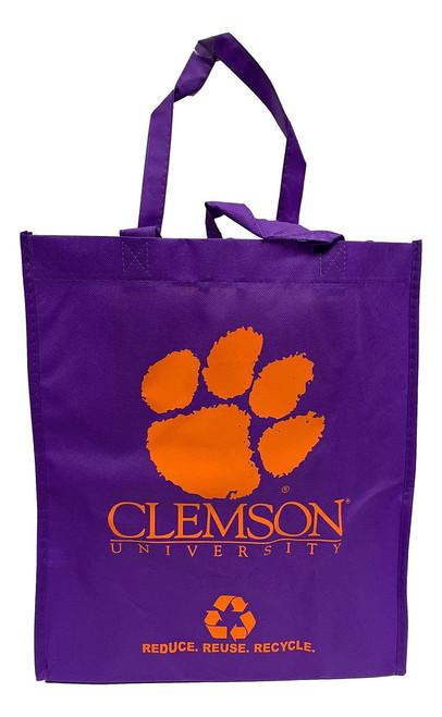 Clemson Tigers Printed Non-Woven Polypropylene Reusable Grocery Tote Bag