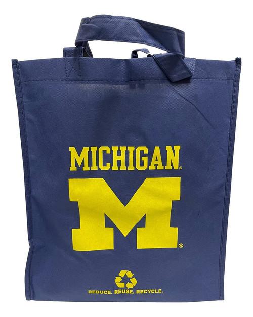 Michigan Wolverines Printed Non-Woven Polypropylene Reusable Grocery Tote Bag