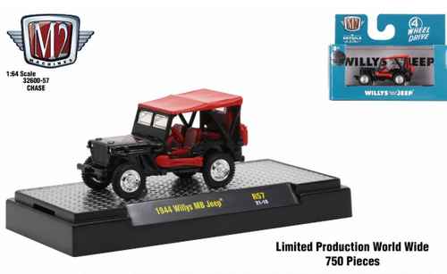 M2 Machines 1:64 Detroit Muscle Release 57 1944 Willys MB Jeep CHASE