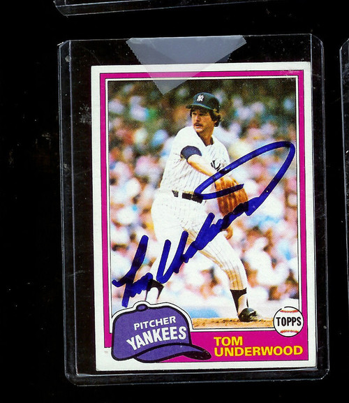 1981 Topps #114 Tom Underwood Yankees AUTO Deceased 10/14/2010 Sharpie Blue