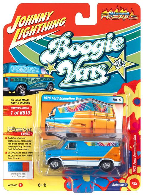 Johnny Lightning 1:64 Street Freaks Ver A 1976 Ford EconolineVan Cyan and Orange