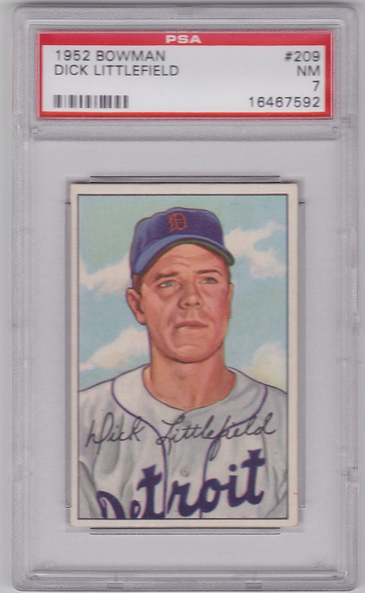 1952 Bowman Baseball #209 Dick Littlefield PSA 7 Detroit TIGERS