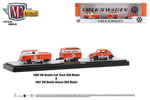 M2 Machines Auto Hauler 48 1960 VW Double Cab Truck & 1967 VW Beetle Deluxe