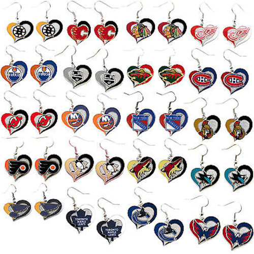 NHL Football Swirl Heart Earrings Pick Your Team