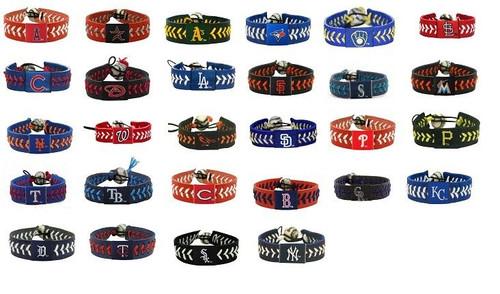 Official MLB Leather Baseball Seam Bracelet Team Color Choose Your Team